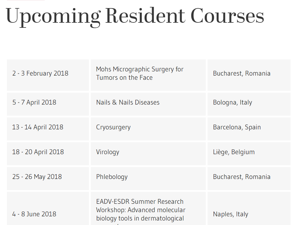 Upcoming Resident Courses