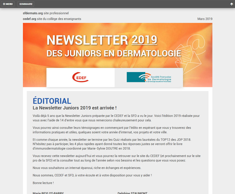 Aperçu de la newsletter junior 2019