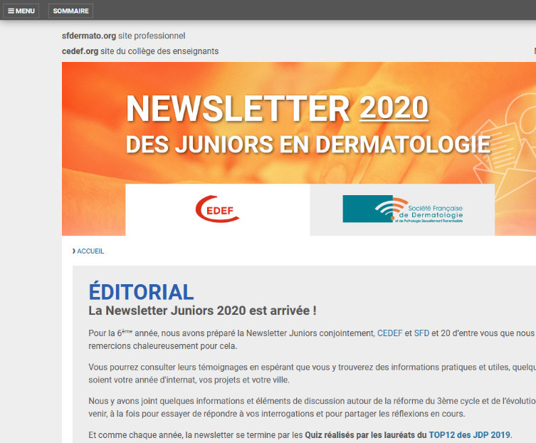 Aperçu de la newsletter junior 2020